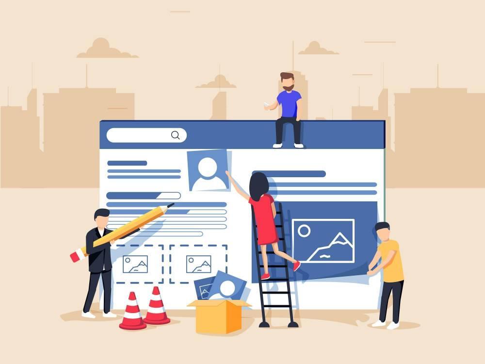 Webdesign. Illustration d'une équipe de webdesigners en pleine construction d'un site internet.